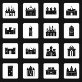 Towers and castles icons set squares vector Stock Photography