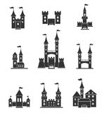 Towers and castles icons set. Tower architecture icon, building medieval, fort illustration. Castle tower silhouette in a flat style. Knights, royal, princess Royalty Free Stock Photography