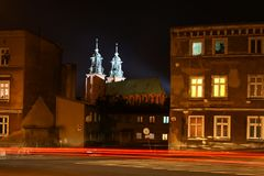 Towers of cathedral in Gniezno, Poland. Royalty Free Stock Images