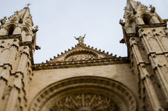 Towers of the Cathedral La Seu, Majorca, Spain Stock Image