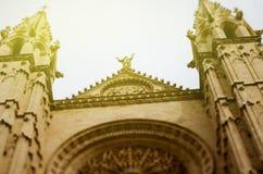 Towers of the Cathedral La Seu, Majorca, Spain sunny day. Looking up at the towers of the Cathedral La Seu, Palma de Mallorca, Mallorca, Balearic Islands, Spain Royalty Free Stock Photos