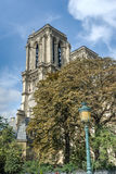 The towers of the cathedral Notre Dame de Paris stock image