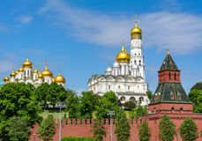 Towers and Cathedrals of Moscow Kremlin, Russia royalty free stock photography