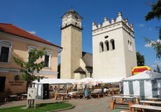 Towers in center of Poprad town in Slovakia. Stock Photos