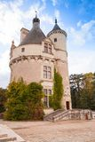 Towers of Chateau de Chenonceau, France. Towers of Chateau de Chenonceau, medieval castle in Loire Valley. It was built in 15 century, mixture of late Gothic and royalty free stock photography
