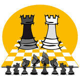 2 towers: Chess game, cartoon. Chess game on cartoon style vector illustration