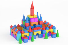 Towers from children's toy blocks, 3D rendering Royalty Free Stock Images