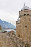 Towers of Chillon Castle on Lake Geneva in Switzerland Royalty Free Stock Photo
