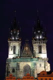 Towers of Church of Our Lady in front of Tyn Stock Photography