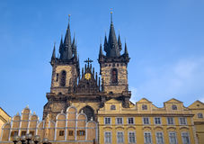 Frontal view of towers of Church of Our Lady in Prague, Czech Republic Stock Photography