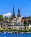 Towers of the Church of St. Leodegar in Lucerne, Switzerland Stock Photos