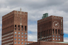 Towers on City Hall in Oslo. Norway royalty free stock photo