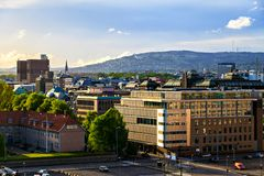 Towers on City Hall in Oslo, Norway. Buildings on City Hall in Oslo, Norway royalty free stock images