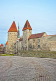 Towers of the city wall and Saint Olafs Church in the Old city o Stock Images