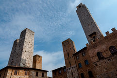 Towers and cloudy sky at San Gimignano Stock Photography