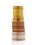 Towers of coin on white background Stock Images