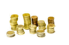 Towers of coins of euro isolated. For finance royalty free stock photography