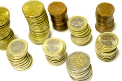 Towers of coins of euro isolated from the top. Towers of coins of euro isolated for UE stock photo