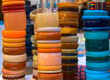 Towers of colorful bracelets Stock Image