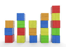 Towers of colorful wood blocks Royalty Free Stock Images