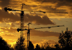 Towers cranes at sunset Stock Image