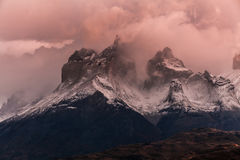 The towers of Cuernos at dawn. Torres del Paine, Argentina.  stock photo