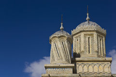 Towers of Curtea de Arges Monastery stock images