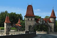 Towers on the dam forest kingdom Royalty Free Stock Images