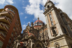 Towers and Dome of Church of San Juan el Real in Oviedo Royalty Free Stock Images