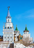 Towers and domes of the Izmailovo Kremlin in Moscow Royalty Free Stock Photo