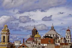 Towers and domes of puebla stock images