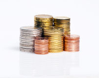 Towers of euro coins Stock Photo
