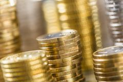 Towers of the euro coins stacked in different positions royalty free stock photography