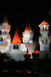 Towers of Excalibur at night. Las Vegas, USA - December 23, 2015: The colorful towers and battlements of the casino Excalibur at the Las Vegas Boulevard in the Royalty Free Stock Photography