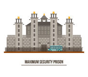 Towers and fence at maximum security prison Stock Images