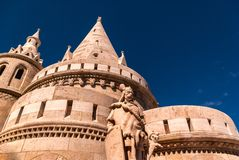 Towers of the Fisherman`s Bastion in Budapest, Hungary royalty free stock image