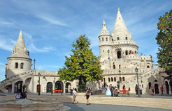 Towers of Fishermen's Bastion in the Buda castle, Budapest. BUDAPEST, HUNGARY - SEPTEMBER 29, 2016: Towers of Fishermen's Bastion in the Buda castle royalty free stock image