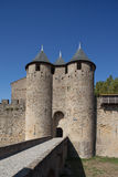 Towers of the fortress of Carcassonne (France). Gate of the fortress of Carcassonne (France Stock Photography