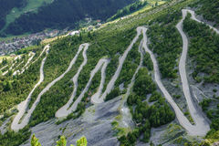 Towers of Fraele ascent, Touristic attraction in Valtellina. U-shape curved road towards Towers of Fraele, a Touristic attraction in Valtellina Stock Photography