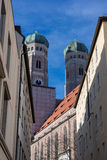 Towers of the Frauekirche in Munich in the sunlight Stock Image