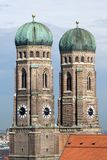 Towers of Frauenkirche Cathedral Church in Munich. (Munchen), Germany. View from New Town hall (Neues Rathhaus Royalty Free Stock Image