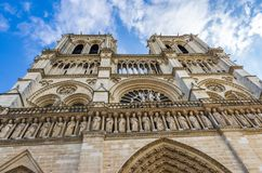 Towers and gargoyles of Notre Dame royalty free stock image