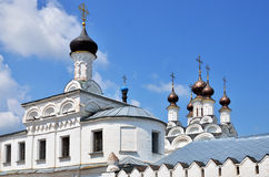 Towers and golden cupolas of church in Murom Royalty Free Stock Photo