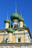 Towers and golden cupolas of church in Russia Stock Photo