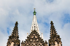 Towers of gothic Chapel in Lodz Royalty Free Stock Photography