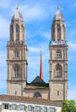 Towers of the Grossmunster with a banner Stock Image
