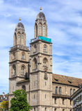 Towers of the Grossmunster with a banner Royalty Free Stock Photo