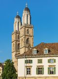Towers of the Grossmunster cathedral in Zurich, Switzerland Royalty Free Stock Image