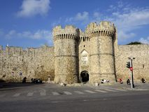 Towers guards the entrance outside the city walls, Rhodes, Greece Royalty Free Stock Photos