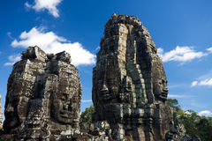 Towers Happy Faces Bayon Temple Stock Image